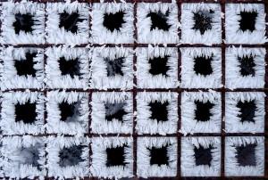 Hoar frost on a grate